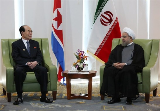 Iranian President Hassan Rouhani meets with Kim Yong Nam on September 18, 2016 on Margarita Island, Venezuela, on the sidelines of the NAM summit (Photo: FARS).