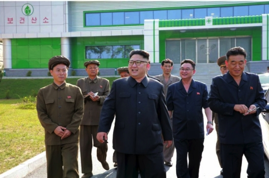 Kim Jong Un tours the recently constructed medical oxygen factory in the Pyongyang suburbs in a photograph which appeared on the top-center of the front page of the September 15, 2016 edition of the WPK daily organ Rodong Sinmun (Photo: Rodong Sinmun)