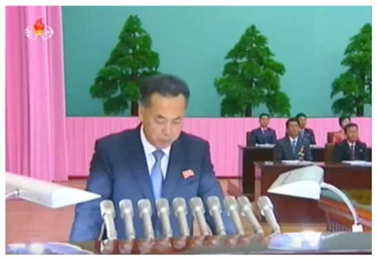 DPRK Vice Premier and Minister of External Economic Affairs Ri Ryong Nam reads out a report (Photo: Korean Central Television).