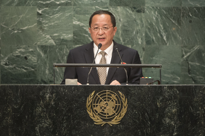 DPRK Foreign Minister Ri Yong Ho addresses the UN General Assembly in New York on September 23, 2016 (Photo: UN).