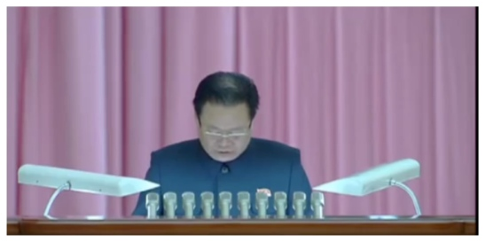 WPK Vice Chairman and State Affairs Commission Vice Chairman Choe Ryong Hae reads out a letter from Kim Jong Un during the GFTUK 7th Congress (Photo: Korean Central Television).
