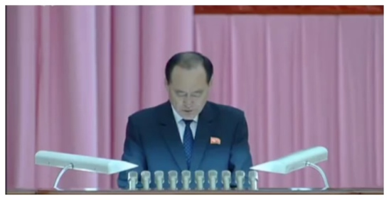 GFTUK Central Committee Chairman Ju Yong Gil speaks during the 7th Congress (Photo: Korean Central Television).