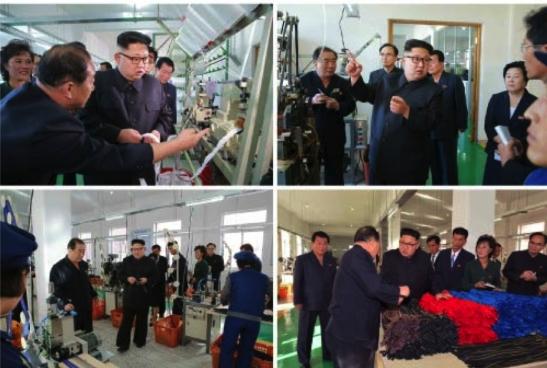 Kim Jong Un tours the Mangyo'ngdae Revolutionary Site Souvenir Factory (Photos: Rodong Sinmun/KCNA).