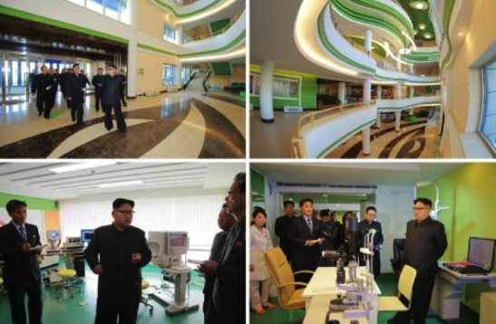 Kim Jong Un tours the Ryugyo'ng Opthalmic Hospital in east Pyongyang (Photos: Rodong Sinmun/KCNA).