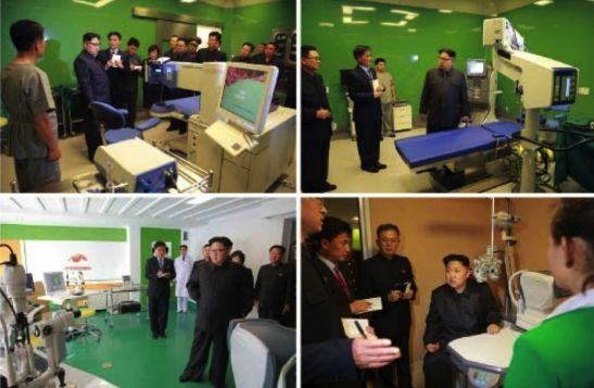 Kim Jong Un tours patient wards and rooms at the Ryugyo'ng Opthalmic Hospital (Photos: Rodong Sinmun/KCNA).