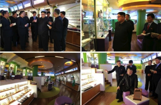 Kim Jong Un tours an optometry shop at the hospital (Photos: KCNA/Rodong Sinmun).