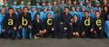 View of a commemorative photo from Jong Un's visit.  Tagged are: Rim Chun Gil [a] Pak Pong Ju [b] An Jong Su [c], Kim Su Gil [d] and Jo Yong Won [e]
