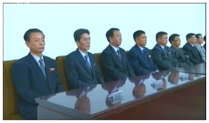 View of platform members attending a meeting marking the 70th anniversary of the WPK Central Committee theoretical ideological organ Kulloja, held in central Pyongyang on October 24, 2016 (Photo: Korean Central Television).