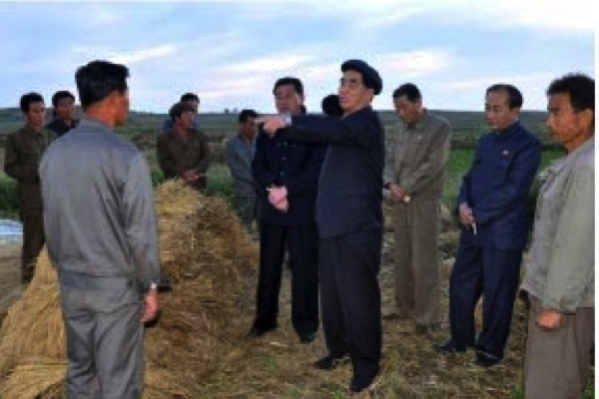 DPRK Premier Pak Pong Ju issues instruction during a visit to a cooperative farm in South Hwanghae Province (Photo: Rodong Sinmun).