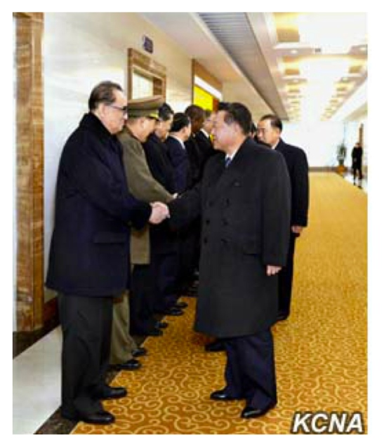 WPK Vice Chairman and State Affairs Commission Vice Chairman Choe Ryong Hae (right) shakes hands with WPK Vice Chairman for International Affairs and State Affairs Commission Member Ri Su Yong, prior to departing Pyongyang Airport for Havana on November 28, 2016 (Photo: KCNA).
