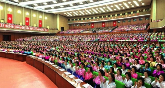 View of participants and the venue of the 6th Congress of the Women's Union which appeared right-center on page 6 of the November 19, 2016 edition of the WPK daily newspaper Rodong Sinmun (Photo: Rodong Sinmun/KCNA).