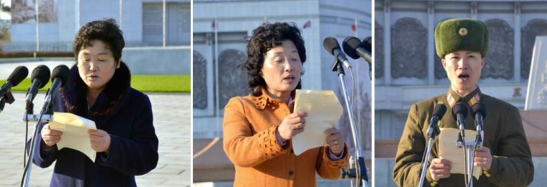KDWU and KPA members speak during the ceremony held at the Victorious Fatherland Liberation War Museum Plaza in Pyongyang on November 8, 2016 (Photos: KCNA).