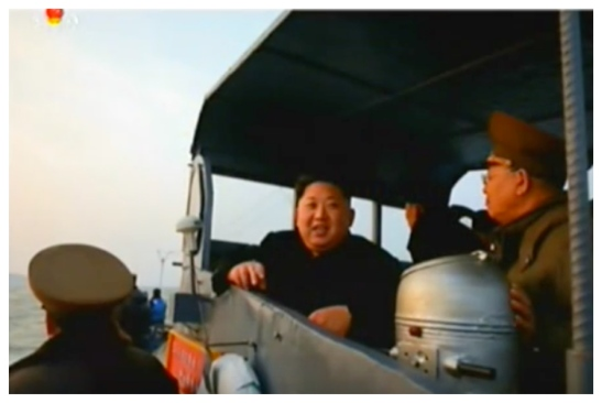Kim Jong Un on his personal boat prior to his inspection of Kali and Jangjae Islets (Photo: Korean Central Television).