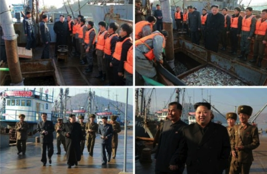 Kim Jong Un greets fishery personnel and walks along the docks at the August 25 Fishery Station in photos which appeared bottom-left of the front page of the November 20, 2016 edition of the WPK daily newspaper Rodong Sinmun (Photos: Rodong Sinmun/KCNA).