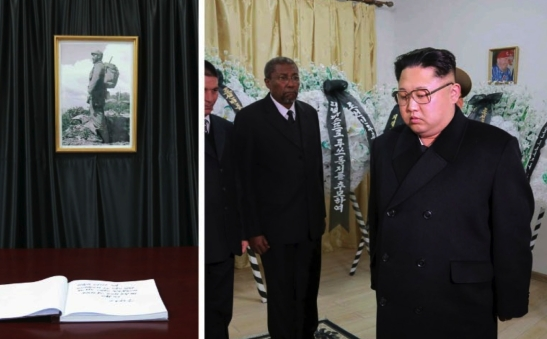 Kim Jong Un pays his respects to late Cuban leader Fidel Castro at the Cuban Embassy in east Pyongyang on November 28, 2016 (Photo: Rodong Sinmun).