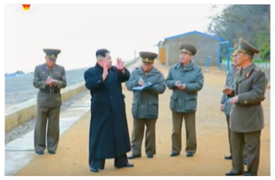 Kim Jong Un makes remarks to senior members of the KPA high command and the command staff of the Kali Islet defense element (Photo: Korean Central Television).