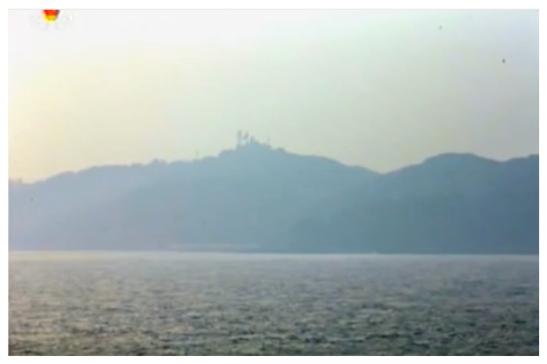 A view of Yo'np'yo'ng Island, ROK from Kali Islet, DPRK (Photo: Korean Central Television).