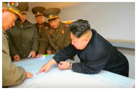 Kim Jong Un reviews military positions with senior KPA high command and IV Army Corps commanders (Photo: Korean Central Television)