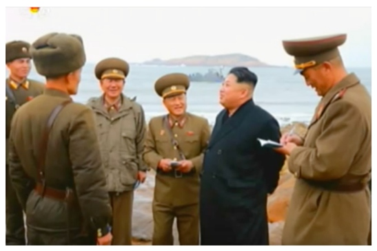 Kim Jong Un after his arrival on Changjae Islet (Photo: Korean Central Television).