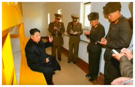 Kim Jong Un issues instructions whilst touring the living quarters at the Changjae Islet coastal defense detachment (Photo: Korean Central Television).