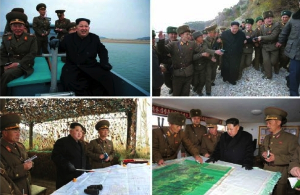 Photos which appeared on the bottom-left of the November 11, 2016 edition of Rodong Sinmun show Jong Un's arrival to the islet and briefings and reviewing the unit's plans and preparedness (Photos: Rodong Sinmun/KCNA).