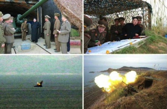 Photos which appeared bottom-right on the first page of the November 11, 2016 edition of Rodong Sinmun show Kim Jong Un inspecting artillery and guiding an exercise (Photos: Rodong Sinmun/KCNA).