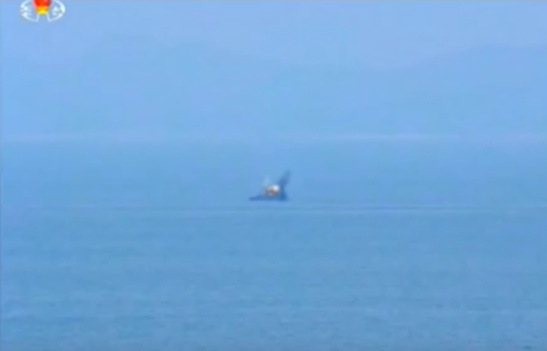 Naval target used in artillery exercise ordered during Kim Jong Un's field inspection of Mahap Islet (Photo: Korean Central Television).