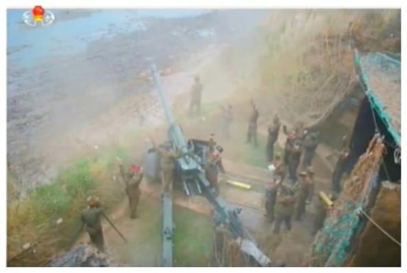 An artillery piece participates in an anti-ship drill (Photo: Korean Central Television).