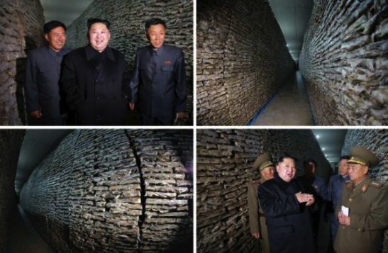 Kim Jong Un visits storage facilities at the May 27 Fishery Station in photos which appeared on the bottom left of page 2 of the November 17, 2016 edition of the WPK daily newspaper Rodong Sinmun (Photos: KCNA/Rodong Sinmun).