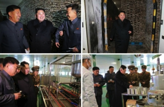Kim Jong Un tours cannery facilities at the May 27 Fishery Station in photos which appeared on the bottom right of page 2 of the November 17, 2016 edition of the WPK daily organ Rodong Sinmun (Photos: KCNA/Rodong Sinmun).