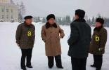 Kim Jong Un visits the area near the KJI statue in Samjiyo'n County, Yanggang Province.  Also in attendance are Yanggang WPK Provincial Committee Chairman Ri Sang-wo'n [a] and WPK Vice Chairman and SAC Vice Chairman Ch'oe Ryong-hae [b] (Photo: Rodong Sinmun).
