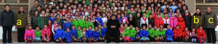 Kim Jong Un poses for a commemorative photograph with DPRK children who go to the Samjiyo'n County Schoolchildren's Palace.  In attendance are WPK Central Committee Department Director Kim Yo'ng-su [a], WPK Vice Chairman Ch'oe Ryong-hae and Yanggang WPK Provincial Committee Chairman Ri Sang-wo'n (Photo: Rodong Sinmun).