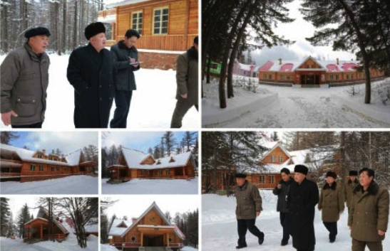Kim Jong Un tours dorms in the camp for visitors to revolutionary sites in Samjiyo'n in photos which appeared on the bottom left of the front page of the November 28, 2016 edition of the WPK daily organ Rodong Sinmun (Photos: Rodong Sinmun/KCNA).