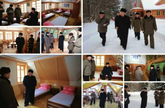 Kim Jong Un tours a camp for visitors to revolutionary battle and historical sites in Samjiyo'n County, Yanggang Province in photos which appeared on the bottom right of page 2 of the November 28, 2016 edition of Rodong Sinmun (Photos: Rodong Sinmun/KCNA).