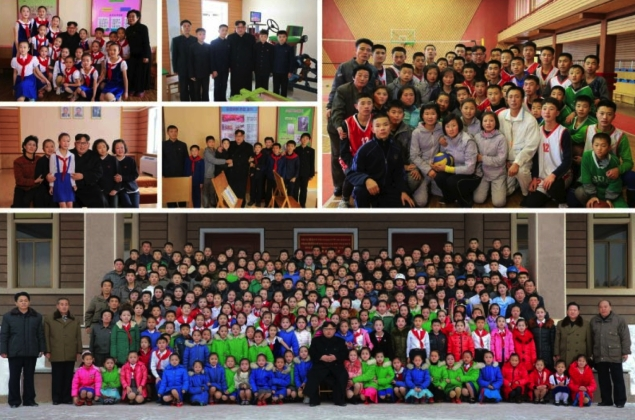 Photos which appeared on the bottom of page 3 of the November 28, 2016 edition of the WPK daily organ Rodong Sinmun depicting Kim Jong Un's tour of the Samjiyo'n County Schoolchildren's Palace (Photos: KCNA/Rodong Sinmun).