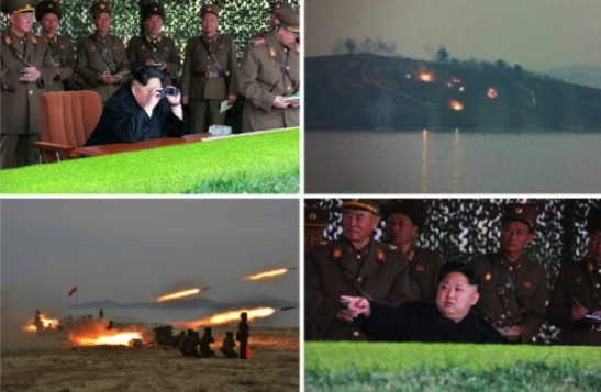 Photos of Kim Jong Un watching an MLRS firing contest which appeared on the bottom-left of the front page of the November 19, 2016 edition of the WPK daily newspaper Rodong Sinmun (Photos: Rodong Sinmun/KCNA).