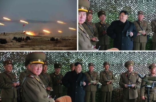 Photos of an MLRS firing contest and Kim Jong Un watching it which appeared bottom-right on the front page of the November 19, 2016 edition of the WPK daily organ Rodong Sinmun (Photos: KCNA/Rodong Sinmun).
