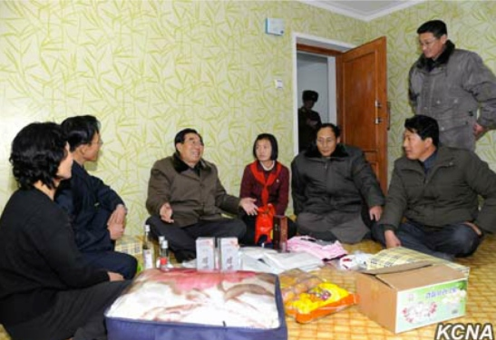 WPK Vice Chairman for Cadres' Affairs Kim Phyong Hae attends a house warming (Photo: KCNA).