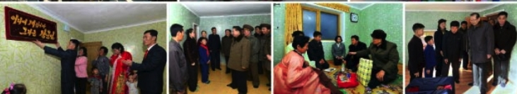 (L-R) A family hangs a slogan poster in their new apartment; WPK Vice Chairman for Workers' and Social Organizations Choe Ryong Hae, WPK Vice Chairman for Propaganda and Agitation Kim Ki Nam and WPK Vice Chairman for Science and Education Choe Thae Bok visit families after their move-in (Photos: Rodong Sinmun/KCNA).