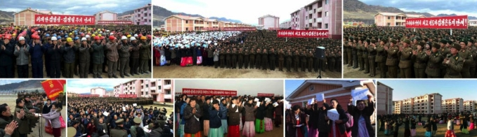 Views of ceremonies opening residential units in North Hamgyo'ng Province as part of flood recovery efforts (Photos: Rodong Sinmun/KCNA).