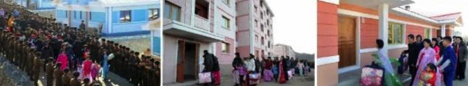 Views of North Hamgyo'ng citizens moving into their new apartments (Photos: KCNA/Rodong Sinmun).