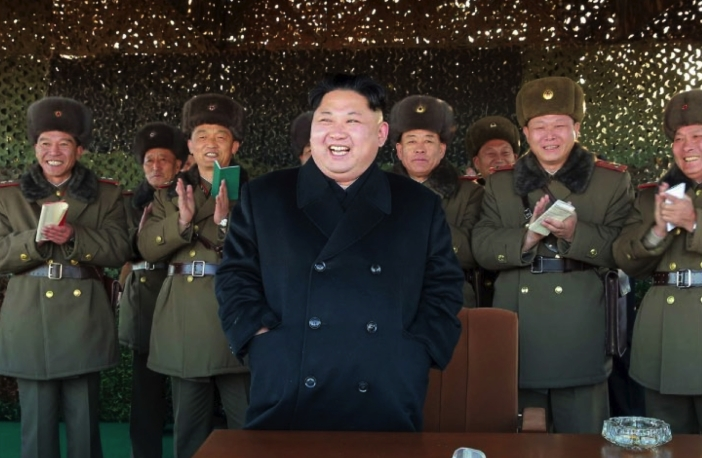 Kim Jong Un smiles whilst watching a live artillery exercise conducted by elements under the KPA Southwestern Command (Photo: Rodong Sinmun).