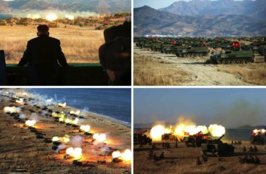 Kim Jong Un observes an artillery drill in photos which appeared on the bottom right of the December 2, 2016 edition of the WPK daily organ Rodong Sinmun (Photos: Rodong Sinmun/KCNA).