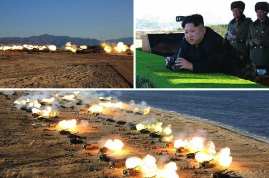 Kim Jong Un views a live fire drill of artillery elements of the KPA Southwest Command Zone in photos which appeared top-center of the December 2, 2016 edition of the WPK daily newspaper Rodong Sinmun (Photos: Rodong Sinmun/KCNA).