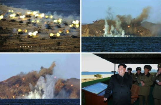 View of a live fire artillery exercise and Kim Jong Un reacting to it which appeared in the middle-left of page 2 of the December 2, 2016 edition of the WPK daily newspaper Rodong Sinmun (Photos: KCNA/Rodong Sinmun).