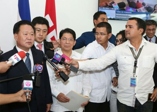 State Affairs Commission Vice Chairman and WPK Vice Chairman Ch'oe Ryong-hae speaks to reporters after arriving in Managua, Nicaragua on January 9, 2017 (Photo: El 19 Digital).