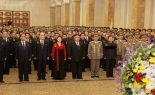 Kim Jong Un visits the Ku'msusan Memorial Palace of the Sun on January 1, 2017.  Also in attendance are: DPRK Foreign Minister Ri Yong Ho [a]; WPK Central Committee Department Director An Jong Su [b]; DPRK Premier and State Affairs Commission Vice Chairman Pak Pong Ju [c]; State Planning Commission Chairman and DPRK Vice Premier Ro Tu Chol [d]; Supreme People's Assembly Presidium President Kim Yong Nam [e]; WPK Central Committee Department Senior Deputy Director Ri Pyong Chol [f]; Jong Un's wife, Ri Sol Ju [g]; WPK Vice Chairman and WPK Central Committee Department Director Ri Man Gon [h]; Pyongyang City WPK Committee Chairman Kim Su Gil [i]; WPK Vice Chairman and WPK Central Committee Department Director Ri Su Yong [j]; KPA General Political Department Director and State Affairs Vice Chairman VMar Hwang Pyong So [k]; WPK Vice Chairman and WPK Central Committee Department Director Kim Phyong Hae [l]; WPK Vice Chairman and State Affairs Commission Vice Chairman Choe Ryong Hae [m]; WPK Vice Chairman and WPK Central Committee Department Director Kim Yong Chol [n]; Chief of the KPA General Staff VMar Ri Myong Su [o]; Minister of State Security Gen. Kim Won Hong [p]; Minister of the People's Armed Forces Gen. Pak Yong Sik [q]; Minister of People's Security Gen. Choe Pu Il [r]  (Photo: KCNA/NKLW).