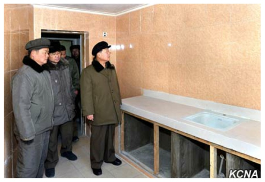State Affairs Commission Vice Chairman and WPK Vice Chairman Choe Ryong Hae tours apartment housing construction on Ryomyong Street in Pyongyang (Photo: KCNA).