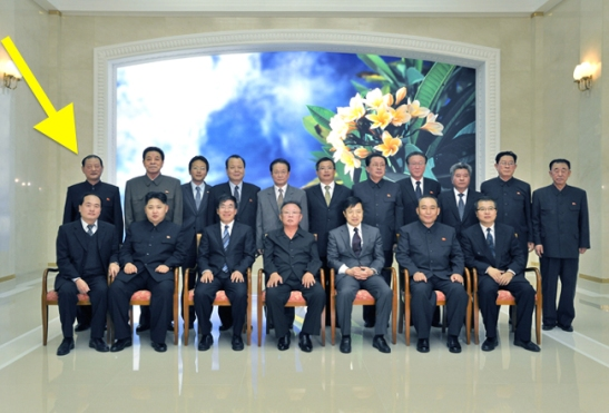 Kim Won Hong (tagged) stands behind Kim Jong Un during a photo-op with Kim Jong Il and former PRC Ambassador to the DPRK Liu Hongcai. Standing next to General Kim is another member of the Gang of Five, Mr. Kim Kyong Ok. (Photo: NK Leadership Watch file photo).