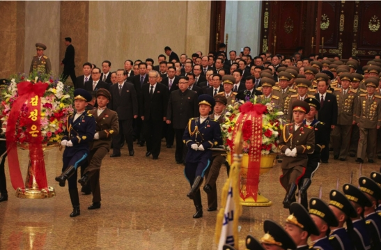 Kim Jong Un and senior WPK and security officials enter Ku'msusan Palace of the Sun in Pyongyang on February 16, 2016, the Day of the Shining Star, or KJI's birth anniversary. (Photo: Rodong Sinmun).